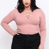 Plus Size Ribbed V-Neck Choker Top - Blush