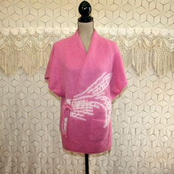 Ethnic Clothing Asian Kimono Short Sleeve Cardigan Wrap Sweater Pink White Knit Top Medium Large Womens Clothing