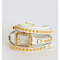 White Triple Wrap Studded Square Watch