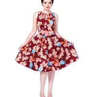 Winter Orchid Cut Out Swing Dress