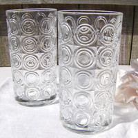 Vintage Circles Retro Drinking Glasses Geometric Design