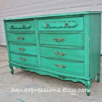 French Provincial Dresser/  Sea Grass Blue/ Bright Buffet/ Bedroom Furniture/ Distressed /Vintage  TV Stand/ Storage/ Dining Room Furniture