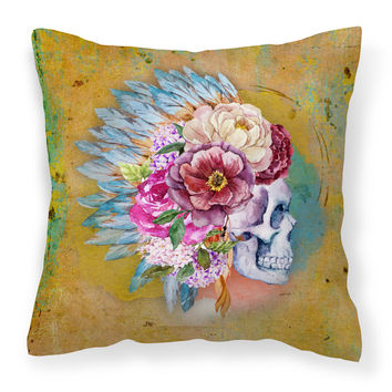 Day of the Dead Flowers Skull  Fabric Decorative Pillow BB5129PW1818