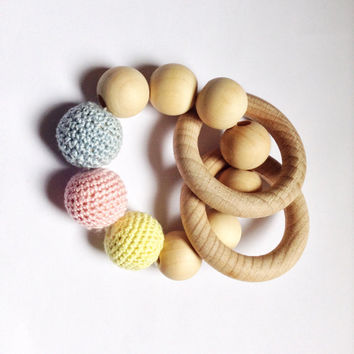 Baby teething toy, Organic teething beads, Baby gift