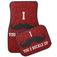 Red glitter I Mustache You 2 Buckle Up Car Mats