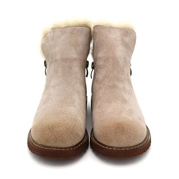 Bimuduiyu Women Winter Boots New Arrival Genuine Leather Snow Boots Pig Suede Plush Cashmere Warm Ankle Boots Casual Flats Shoes - Beauty Ticks