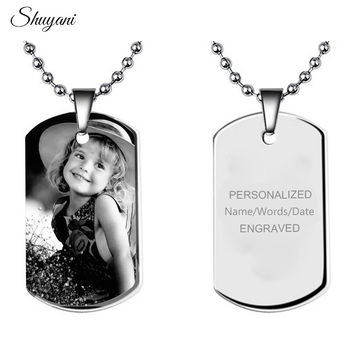 Stainless Steel ID Tag Necklaces & Pendants Custom Personalized Pictures Engrave Your Name Necklace Women Men Choker Necklace