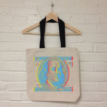 Ben Franklin 3D Blue and Green Organic Recycled Cotton Canvas Tote Bag