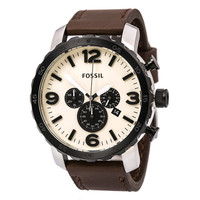 Fossil JR1390 Men's Nate White Dial Brown Leather Strap Chronograph Watch