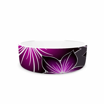 "Alison Coxon ""Charcoal And Amthyst"" Gray Purple Pet Bowl"