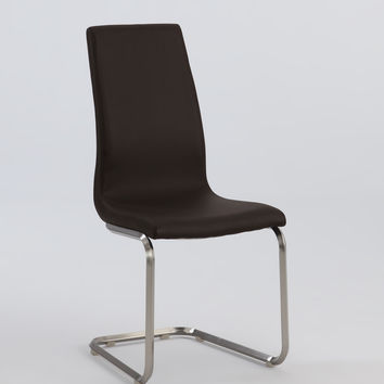 Brown Cantilever High Back Side Chair (Set of 2)