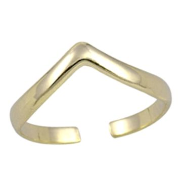 .925 Sterling Silver Chevron V Yellow Gold Ladies Ring Midi Adjustable Size Toe and Knuckle