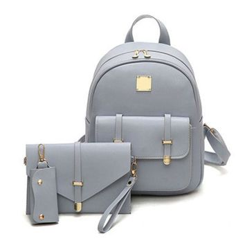 ESBONEJ Candy Color Leather Rivet Backpack Purse Set