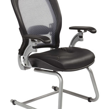 Professional AirGrid® Back Visitors Chair with Platinum Finish Accents with Cantilever Arms