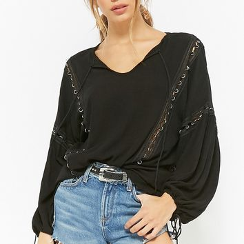 O-Ring Trim Peasant Top
