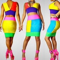 Multi Color Cropped Top and Bodycon Skirt