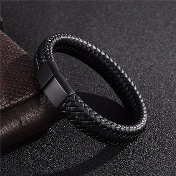 Jiayiqi Punk Men Jewelry Black/Brown Braided Leather Bracelet Stainless Steel Magnetic Clasp Fashion Bangles 18.5/22/20.5cm Just $13.99