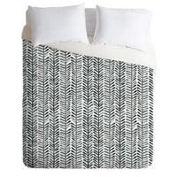 Black & White Geo Dash and Ash Herring Duvet Cover (King) - Deny Designs