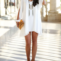 Long Sleeve Casual Chiffon Dress Without Necklace - Bellelily