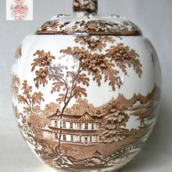 RARE Cookie Jar or Biscuit Barrel Clarice Cliff signed Vintage Brown Transferware Tonquin