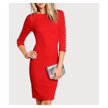 Red 3/4 Sleeve Pearl Embellished Bodycon Midi Dress