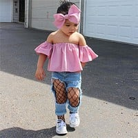 Kids Baby Girls Toddler Clothes Off Shoulder pullover short sleeve solid Tops Denim pocket Pants Bowknot Headband 2pc cotton Set
