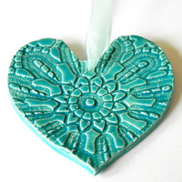 Ceramic Heart Ornaments Caribbean Blue Pottery Vintage Lace Pattern Organza Ribbon