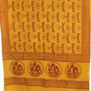 "Shiva, Parvati, Ganesh 44""x 87"" yellow prayer shawl"