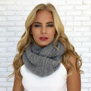 Grey Plush Infinity Scarf