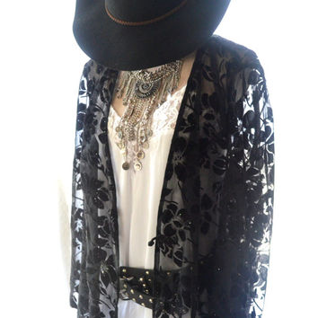 Vintage black burnout kimono, Coachella style, Stevie nicks gypsy style wrap. Bohemian, Boho clothing, Music festival,  True rebel clothing