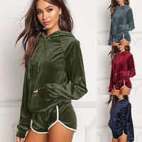 2Pcs Women Velvet Tracksuit Hoodies Sweatshirt Pants Sets Sport Wear Casual Suit