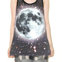 Cosmos Galaxy Universe Space Full Moon Singlet Tank Top Tee Size S