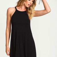 BLACK TAPERED JERSEY TEE DRESS