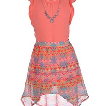 "One Step Up Big Girls' ""Tropical Pueblo"" 3-Piece Outfit - coral, 7 - 8"