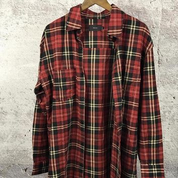 Distressed Plaid Flannel Shirt