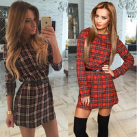 Plaid Long-Sleeve Dress
