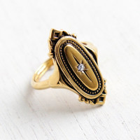 Vintage Art Deco Style Rhinestone Ring - Adjustable Gold Tone Signed Avon Costume Jewelry Kensington Star Shield Cocktail Ring