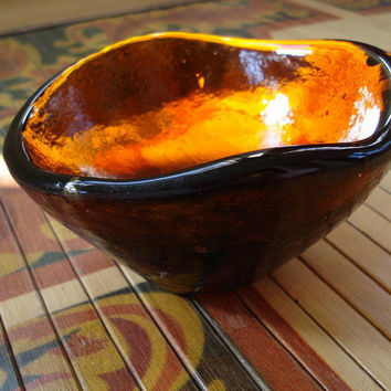 Amber Blenko Freeform Glass Bowl 1950s by bycinbyhand on Etsy