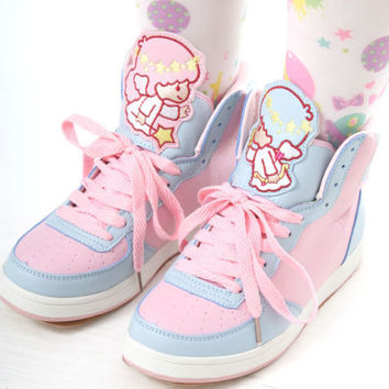 Cutie Kawaii Decora Candy Pastel Multi Color Pink Blue Hi Top Sneaker Boots