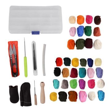 12/24 Colors Wool Felt with 9 Needles Felting Handle Mat Set Starter Kit For DIY Art Handwork Doll Crafts Home Sewing Tools