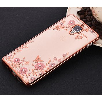 For OnePlus 3 3T case Luxury Plating Secret Garden Flowers Rhinestone back Cover Phone Cases For OnePlus 5 For One plus Five