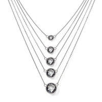 Stainless Steel Grey Glass with 2in ext. Polished Necklace SRN1438-18