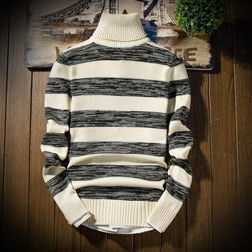 Men's Striped Turtleneck Sweater Up To 3XL