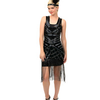 Unique Vintage Iridescent Black Geometric Wilde Flapper Dress