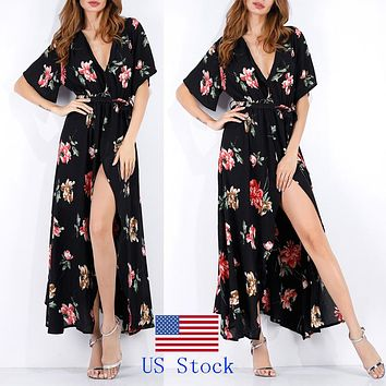 Floral Print Long Maxi Dresses Short Sleeve