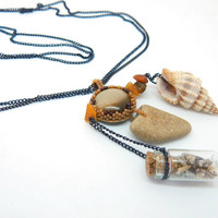 Sands of Time pendant necklace - small bottle, seashell, beach stone and cat's eye on chain - seed beaded jewelry - unique handmade beadwork