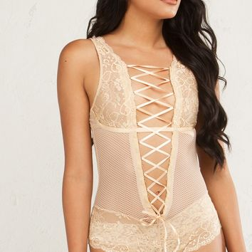 DEEP V LACE UP NET LACE BACKLESS BODYSUIT IN NUDE AND BLACK
