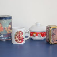 Vintage Iconic Brand Nostalgia Lot - Vintage tins, vintage mugs, Hershey's, Coca Cola, Campbell's Soup, Kellogg's