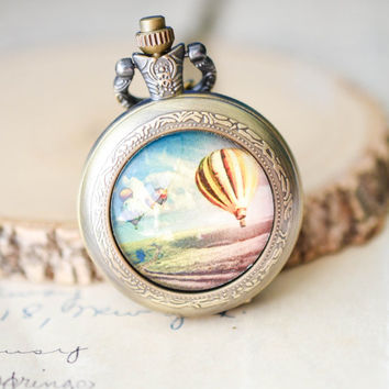 Hot Air Balloon Pocket Watch Necklace, Antique Style Necklace, Wanderlust Necklace, Hot Air Balloon Necklace, Bronze Pocket Watch