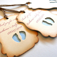 Custom Favor Tags - Baby Shower Pearlescent Tags / Favors - Personal Message and Your Color Choice -
